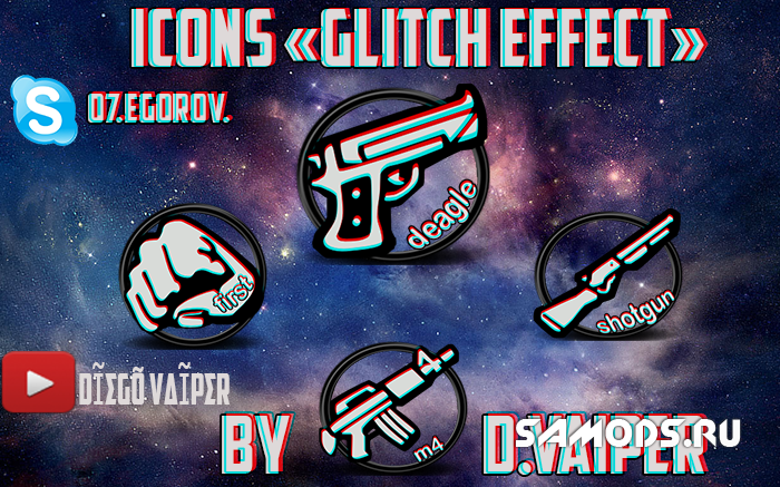 Icons Glitch effect by D.VAIPER